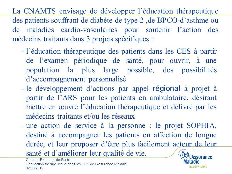 La CNAMTS envisage de développer l'éducation thérapeutique des patients souffrant de diabète de type 2 ,de BPCO-d'asthme ou de maladies cardio-vasculaires pour soutenir l'action des médecins traitants dans 3 projets spécifiques :