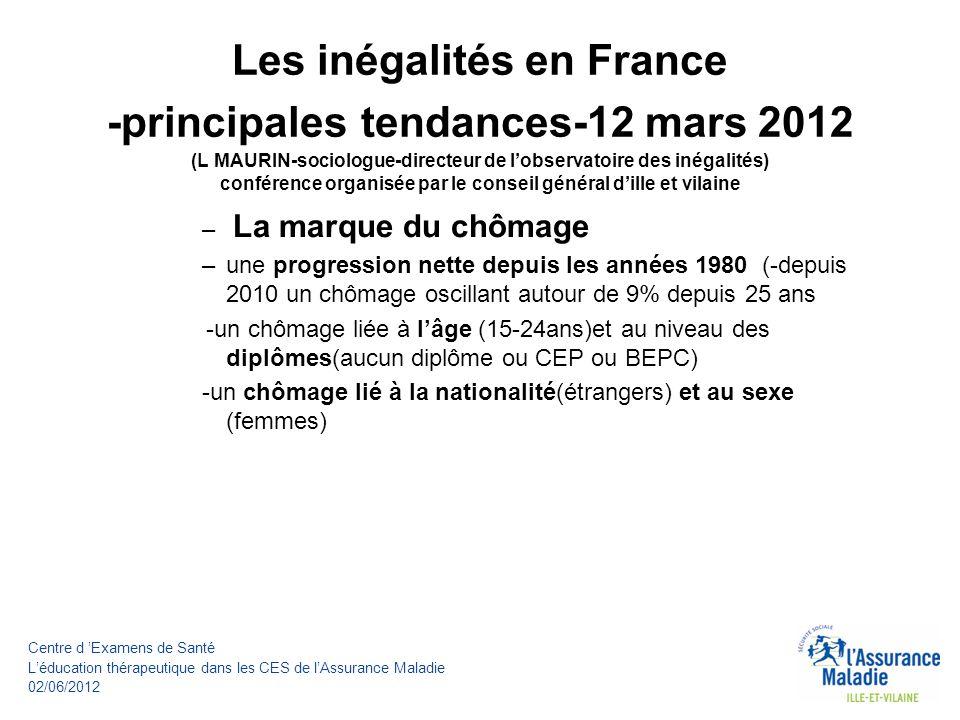 Les inégalités en France -principales tendances-12 mars 2012 (L MAURIN-sociologue-directeur de l'observatoire des inégalités) conférence organisée par le conseil général d'ille et vilaine