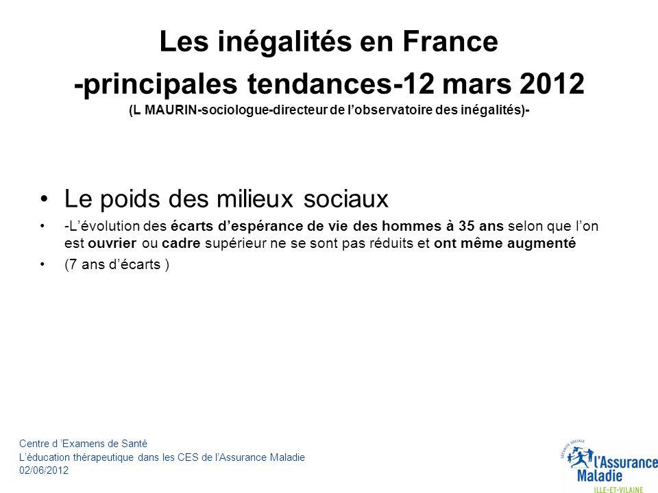 Les inégalités en France -principales tendances-12 mars 2012 (L MAURIN-sociologue-directeur de l'observatoire des inégalités)-