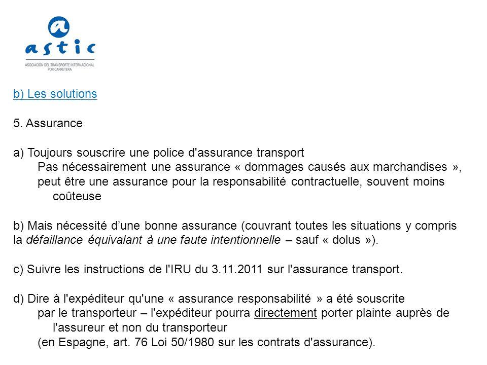 b) Les solutions 5. Assurance. a) Toujours souscrire une police d assurance transport.