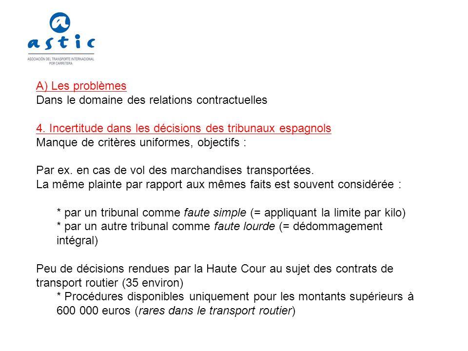 A) Les problèmes Dans le domaine des relations contractuelles. 4. Incertitude dans les décisions des tribunaux espagnols.