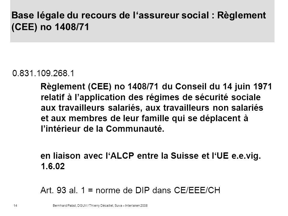 Base légale du recours de l'assureur social : Règlement (CEE) no 1408/71