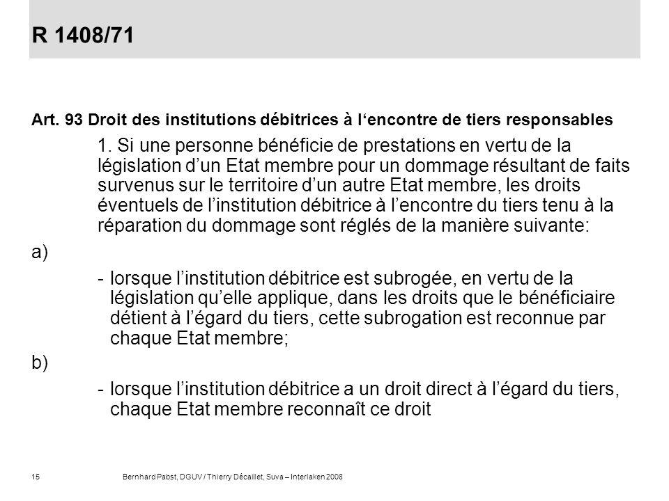 R 1408/71 Art. 93 Droit des institutions débitrices à l'encontre de tiers responsables.