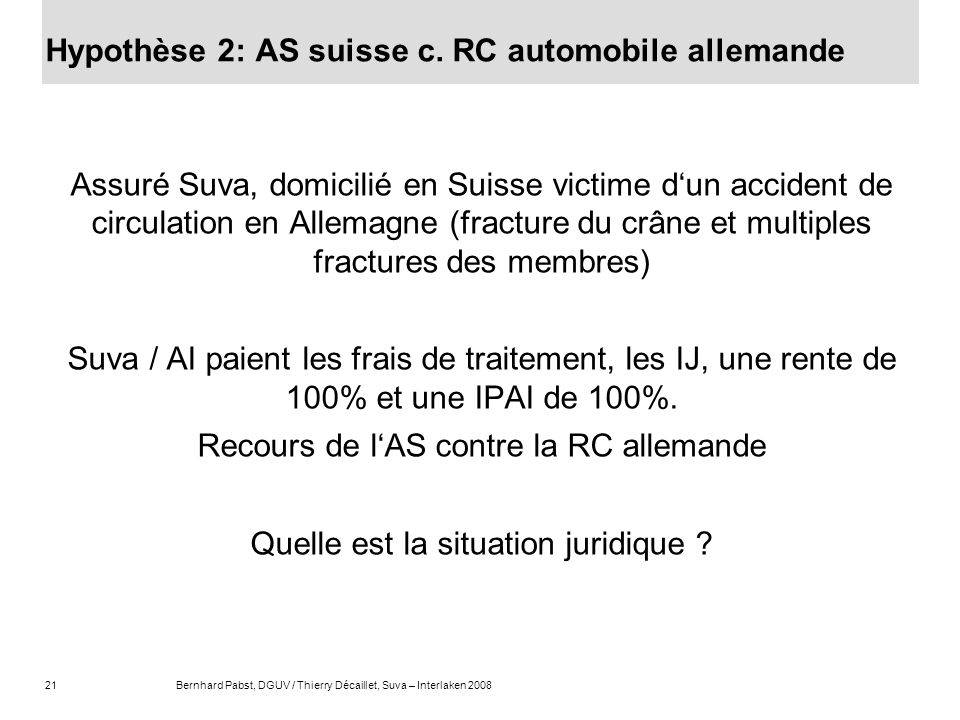 Hypothèse 2: AS suisse c. RC automobile allemande