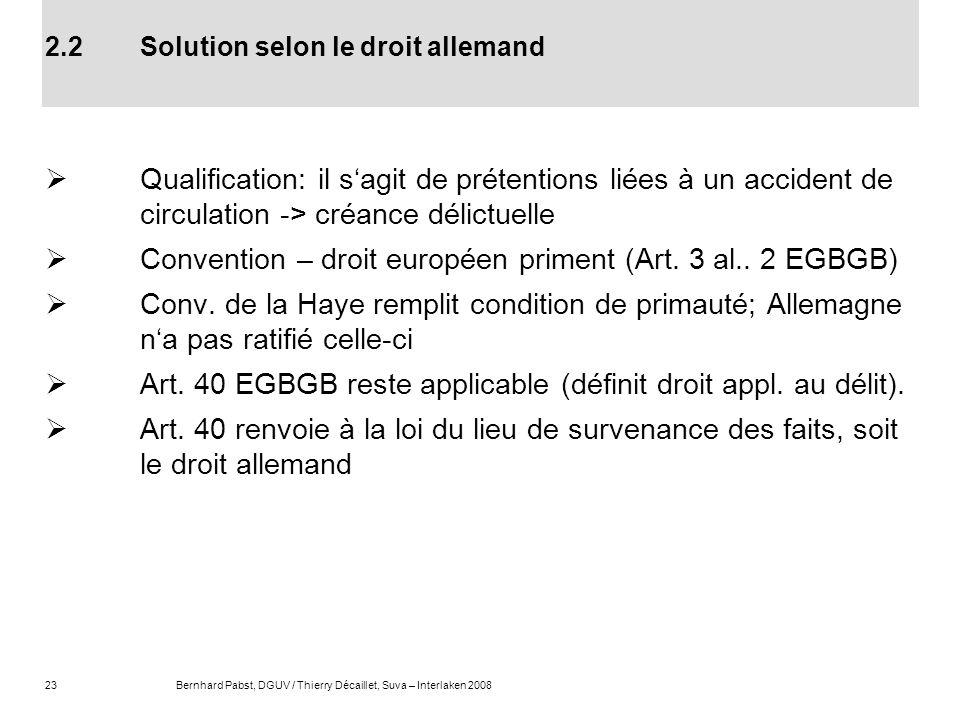 2.2 Solution selon le droit allemand