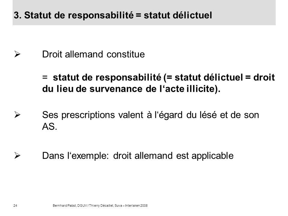 3. Statut de responsabilité = statut délictuel