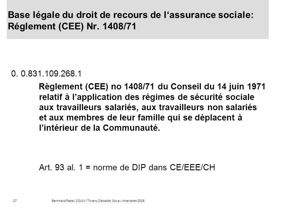 Base légale du droit de recours de l'assurance sociale: Réglement (CEE) Nr. 1408/71