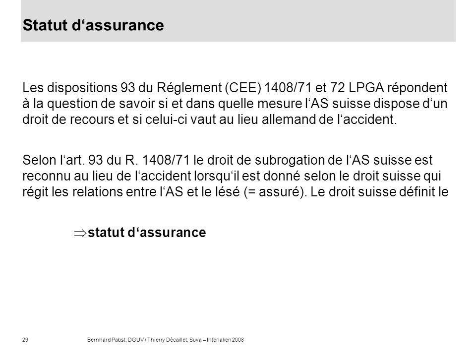Statut d'assurance