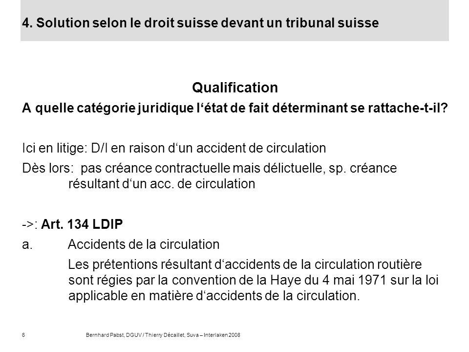 4. Solution selon le droit suisse devant un tribunal suisse