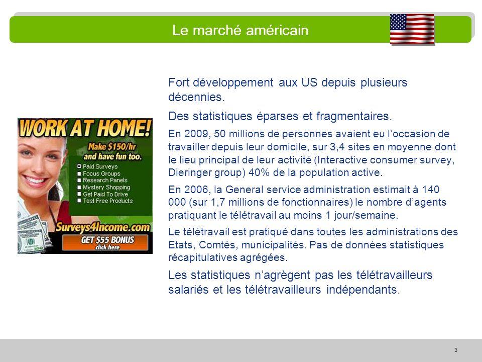 Le marché américain Fort développement aux US depuis plusieurs décennies. Des statistiques éparses et fragmentaires.