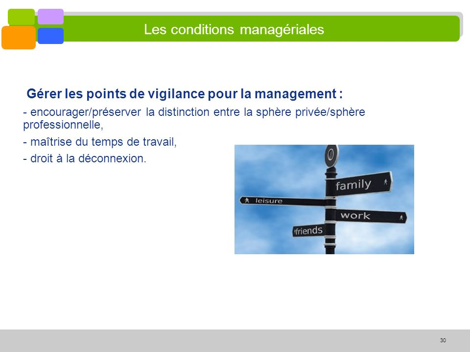 Les conditions managériales