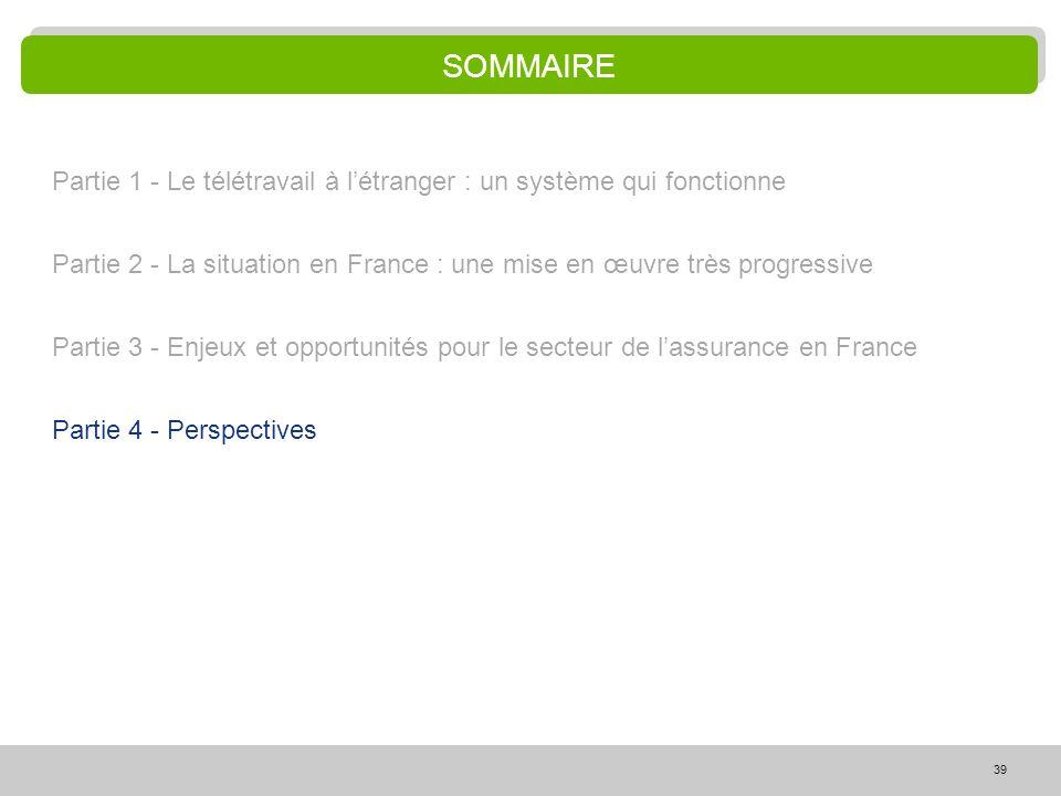 SOMMAIRE Partie 1 - Le télétravail à l'étranger : un système qui fonctionne. Partie 2 - La situation en France : une mise en œuvre très progressive.