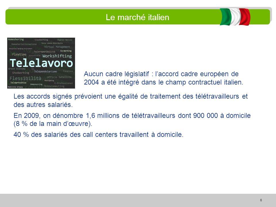 Le marché italien Aucun cadre législatif : l'accord cadre européen de 2004 a été intégré dans le champ contractuel italien.