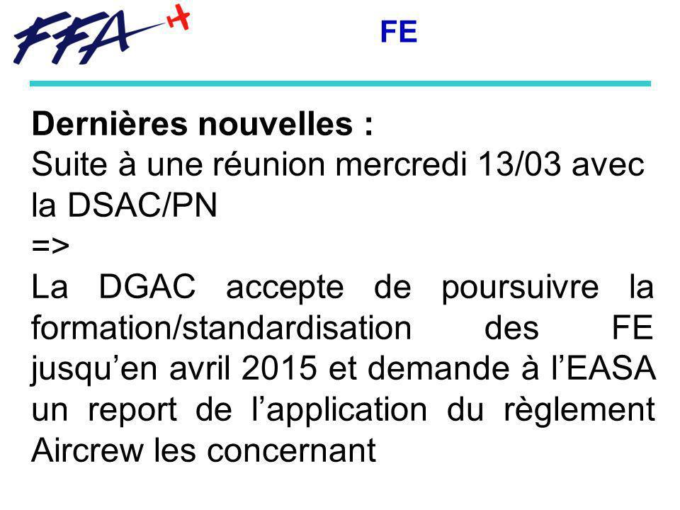 Suite à une réunion mercredi 13/03 avec la DSAC/PN =>