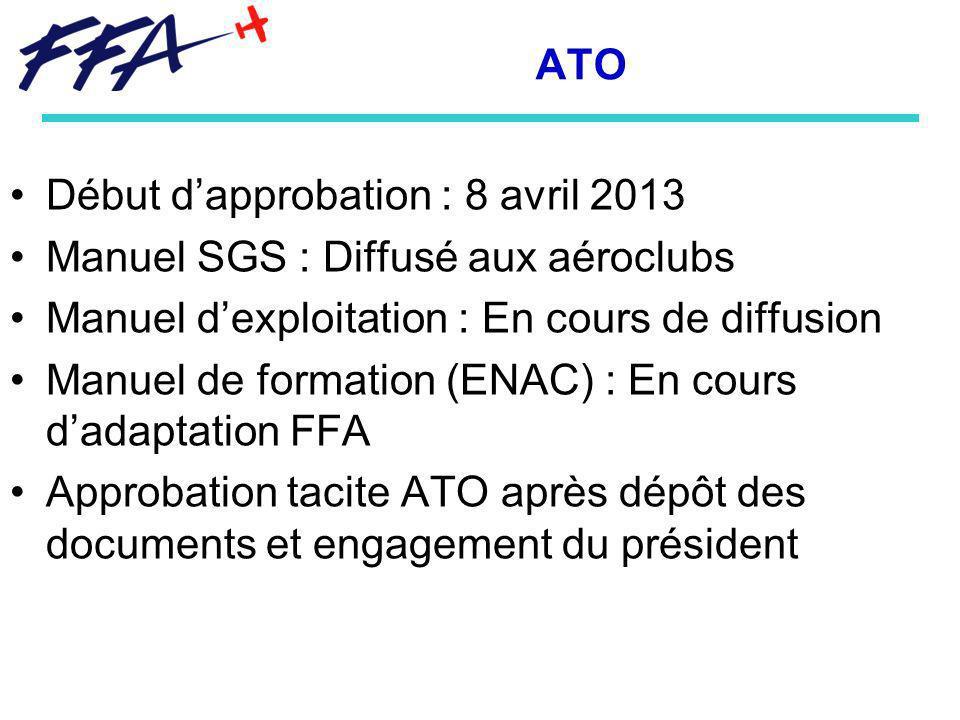 Début d'approbation : 8 avril 2013 Manuel SGS : Diffusé aux aéroclubs