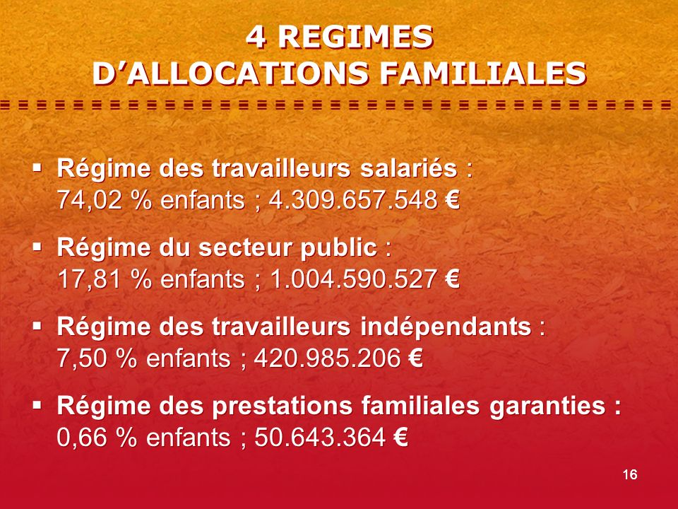 4 REGIMES D'ALLOCATIONS FAMILIALES