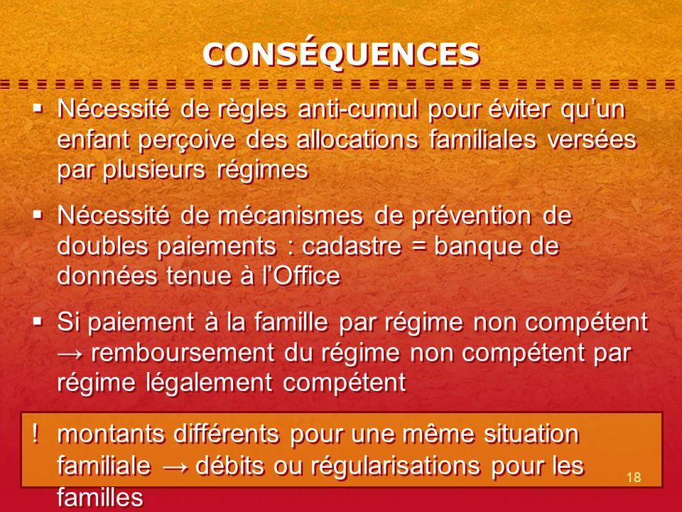 CONSÉQUENCES Nécessité de règles anti-cumul pour éviter qu'un enfant perçoive des allocations familiales versées par plusieurs régimes.
