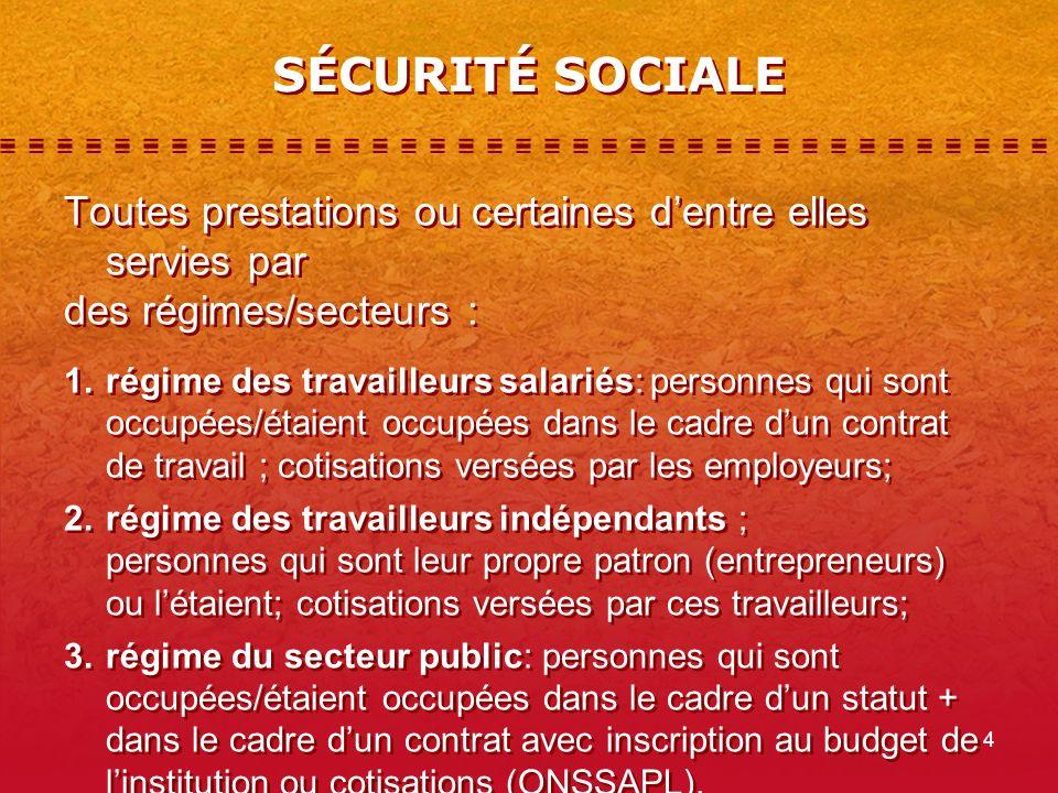 SÉCURITÉ SOCIALE Toutes prestations ou certaines d'entre elles servies par. des régimes/secteurs :