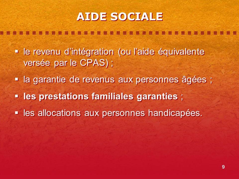 AIDE SOCIALE le revenu d'intégration (ou l'aide équivalente versée par le CPAS) ; la garantie de revenus aux personnes âgées ;