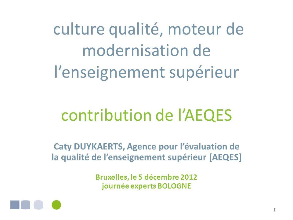 culture qualité, moteur de modernisation de l'enseignement supérieur contribution de l'AEQES