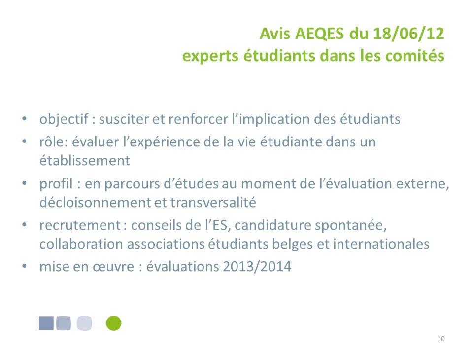 Avis AEQES du 18/06/12 experts étudiants dans les comités