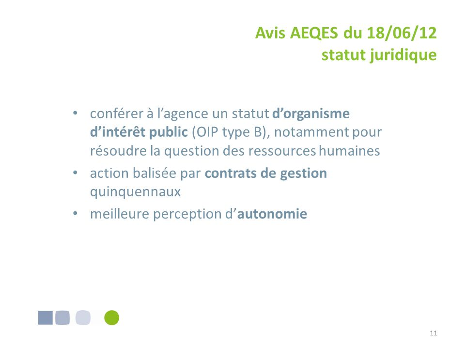 Avis AEQES du 18/06/12 statut juridique
