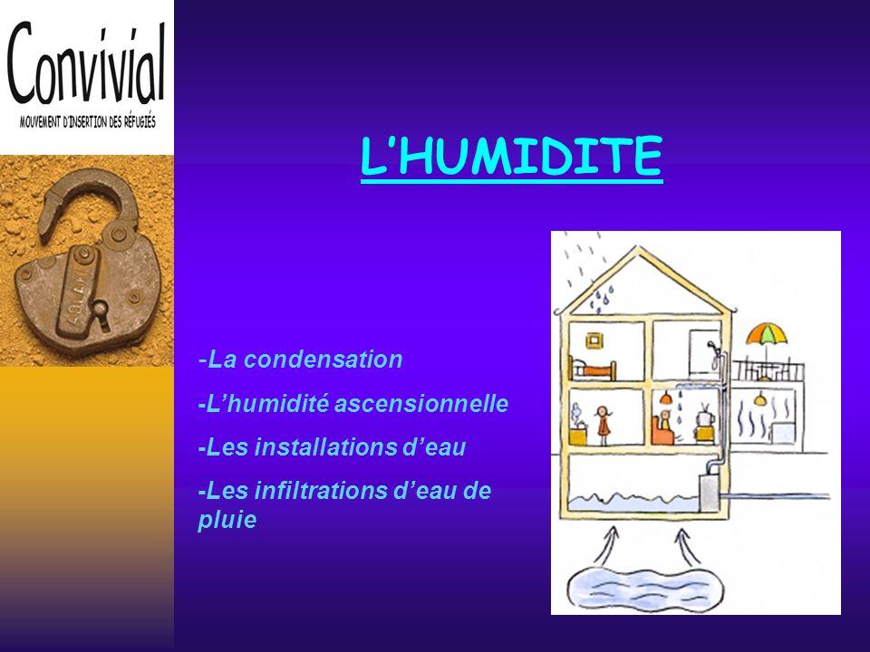 L'HUMIDITE -La condensation -L'humidité ascensionnelle