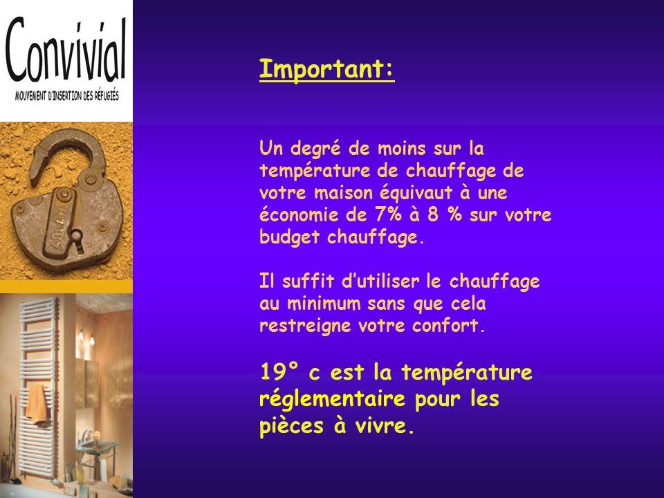Important: Un degré de moins sur la température de chauffage de votre maison équivaut à une économie de 7% à 8 % sur votre budget chauffage.