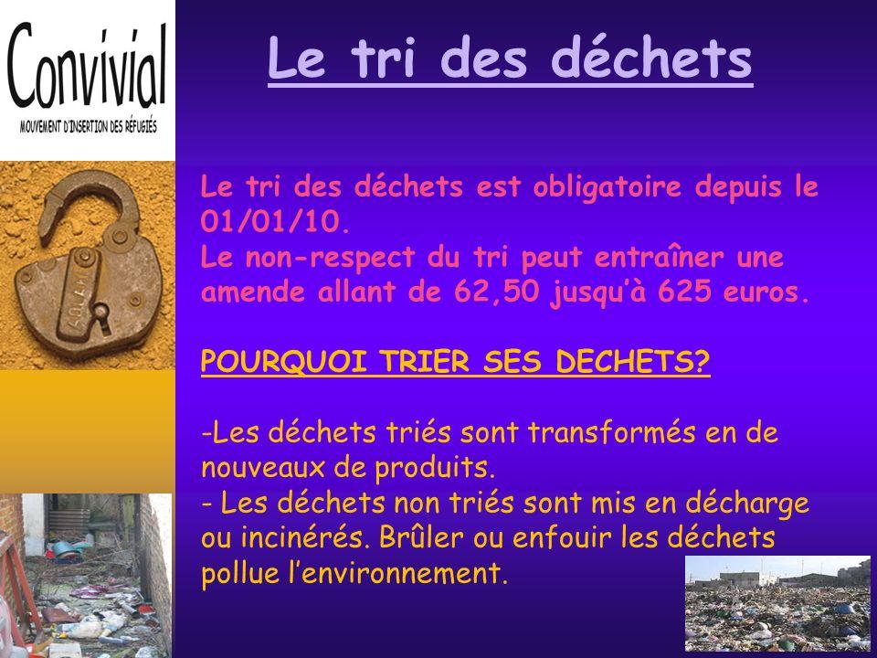Le tri des déchets Le tri des déchets est obligatoire depuis le 01/01/10.
