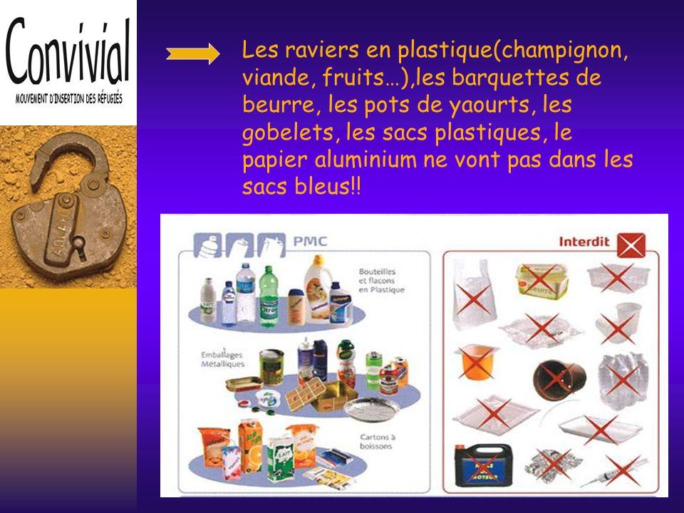 Les raviers en plastique(champignon, viande, fruits…),les barquettes de beurre, les pots de yaourts, les gobelets, les sacs plastiques, le papier aluminium ne vont pas dans les sacs bleus!!