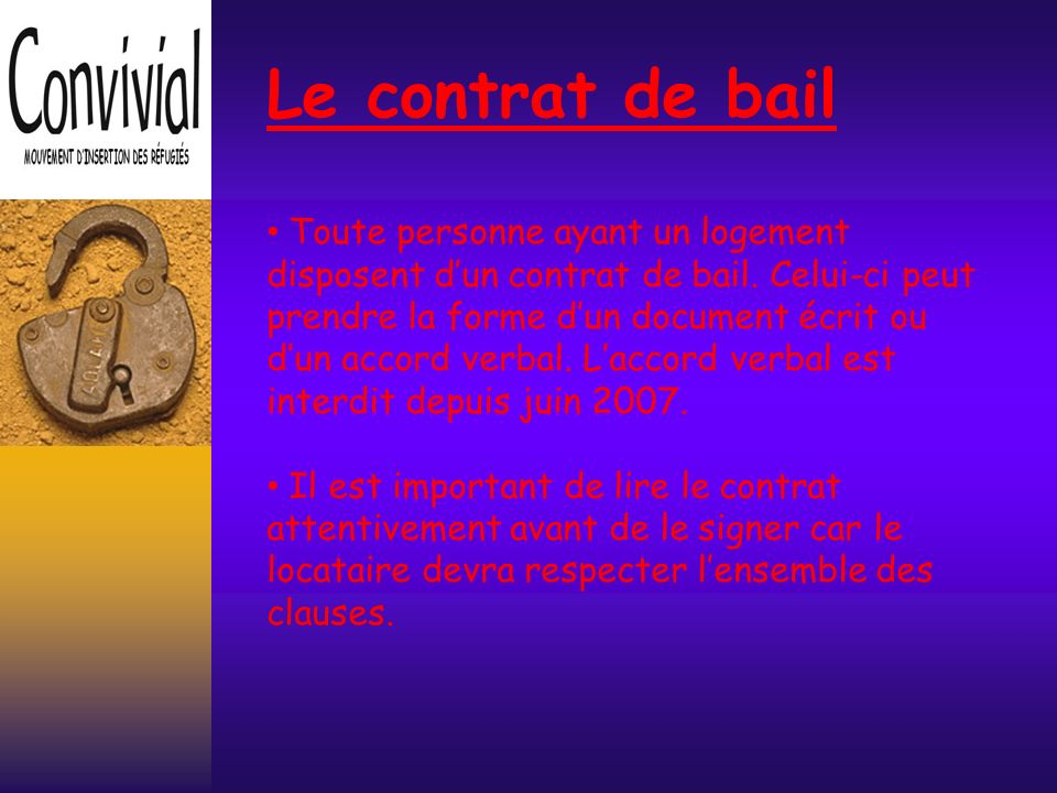 Le contrat de bail