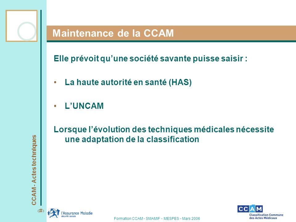 Maintenance de la CCAM Elle prévoit qu'une société savante puisse saisir : La haute autorité en santé (HAS)