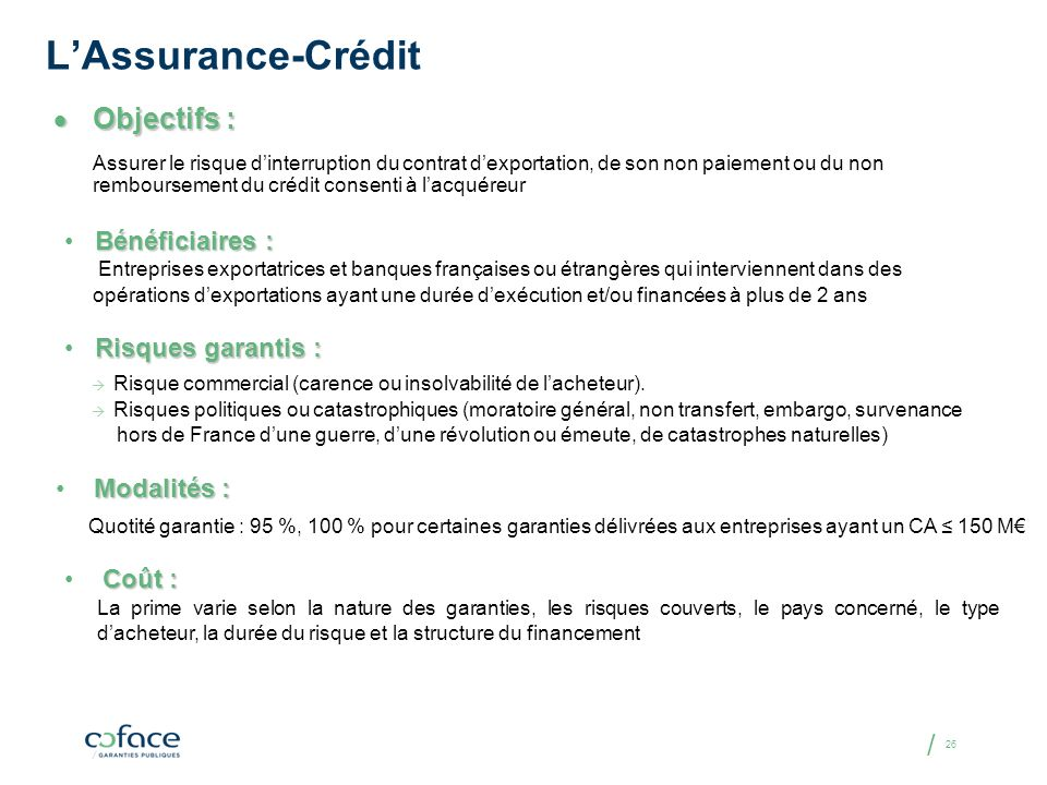 L'Assurance-Crédit Objectifs : Bénéficiaires : Risques garantis :