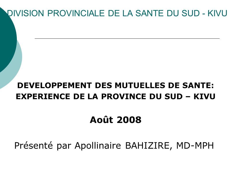 DIVISION PROVINCIALE DE LA SANTE DU SUD - KIVU