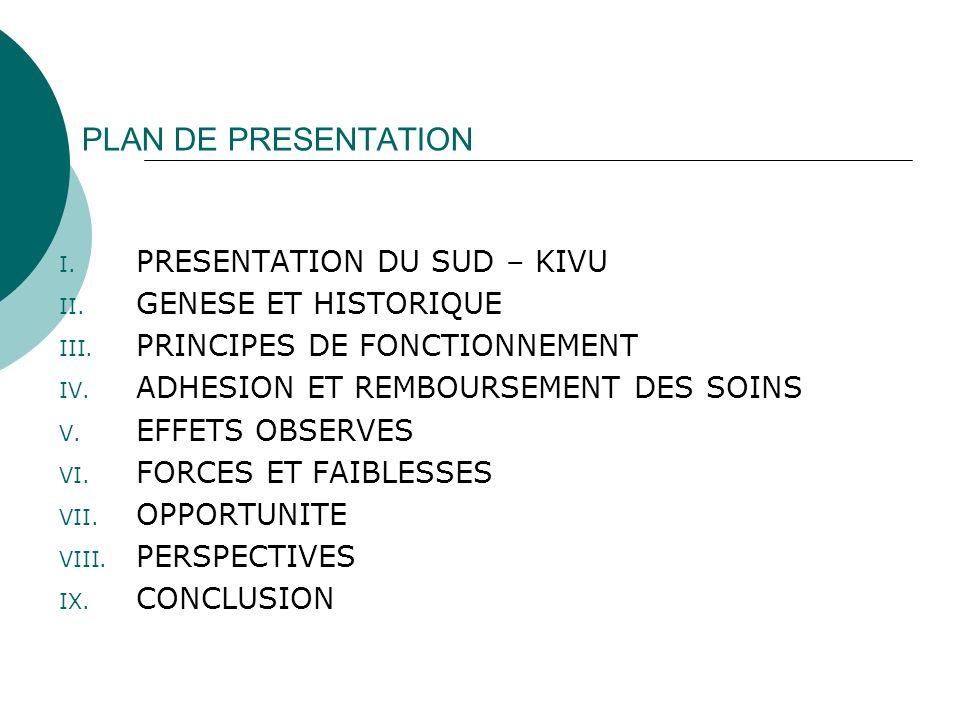 PLAN DE PRESENTATION PRESENTATION DU SUD – KIVU GENESE ET HISTORIQUE