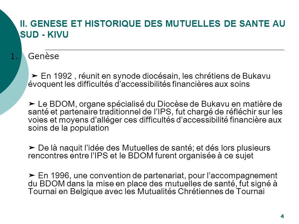 II. GENESE ET HISTORIQUE DES MUTUELLES DE SANTE AU SUD - KIVU