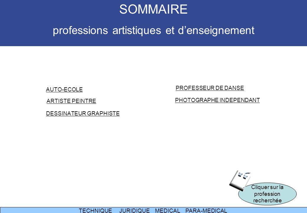 SOMMAIRE professions artistiques et d'enseignement PROFESSEUR DE DANSE