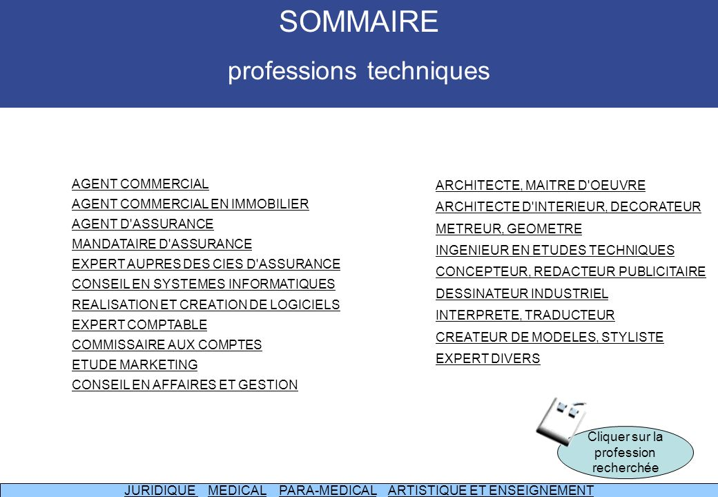 SOMMAIRE professions techniques AGENT COMMERCIAL
