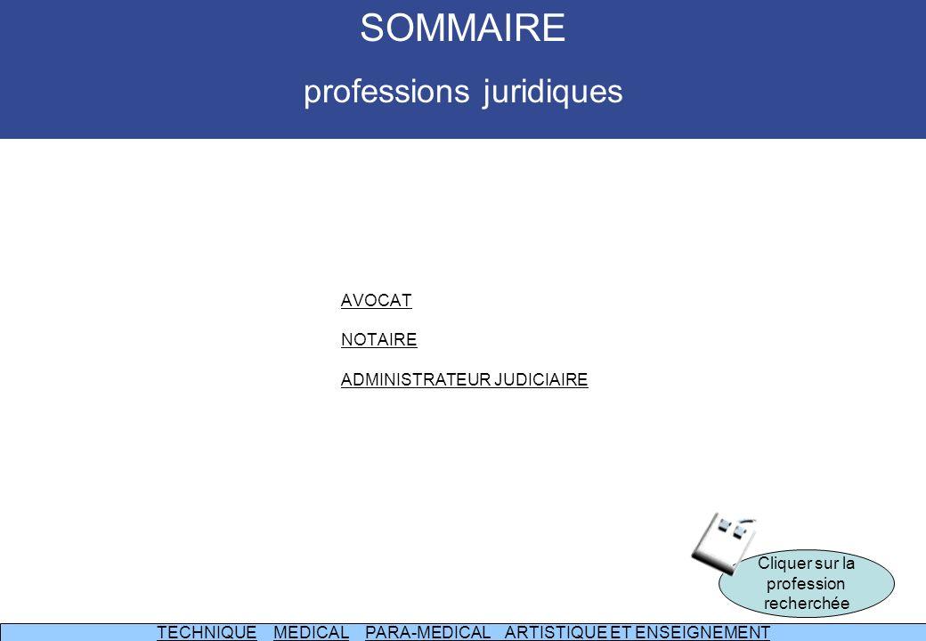 SOMMAIRE professions juridiques AVOCAT NOTAIRE