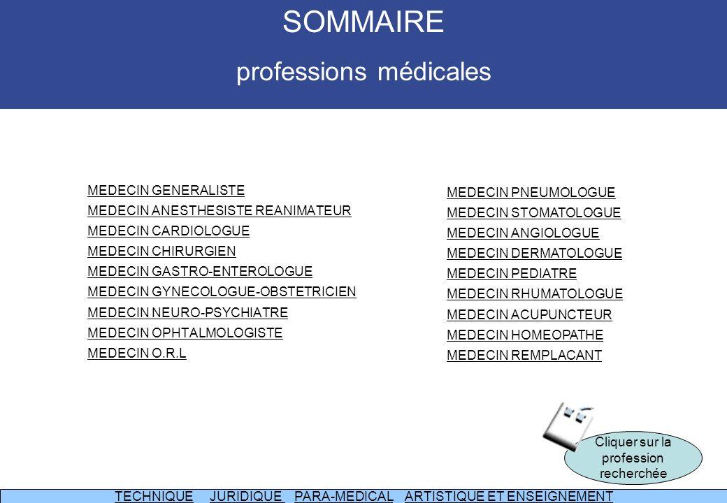 SOMMAIRE professions médicales MEDECIN GENERALISTE