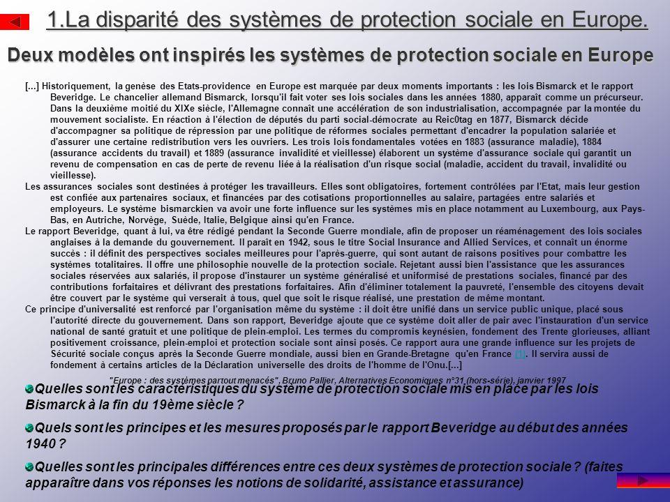 1.La disparité des systèmes de protection sociale en Europe.