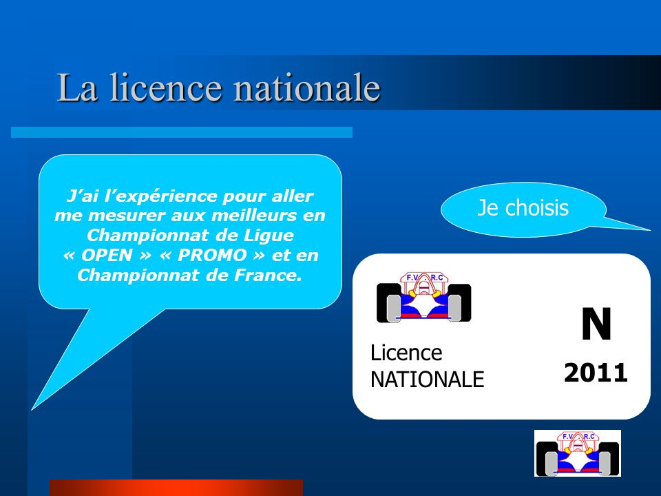 N La licence nationale 2011 Je choisis Licence NATIONALE