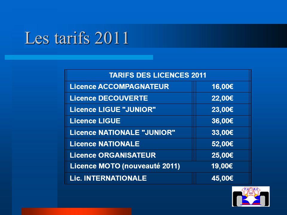 Les tarifs 2011 TARIFS DES LICENCES 2011 Licence ACCOMPAGNATEUR 16,00€