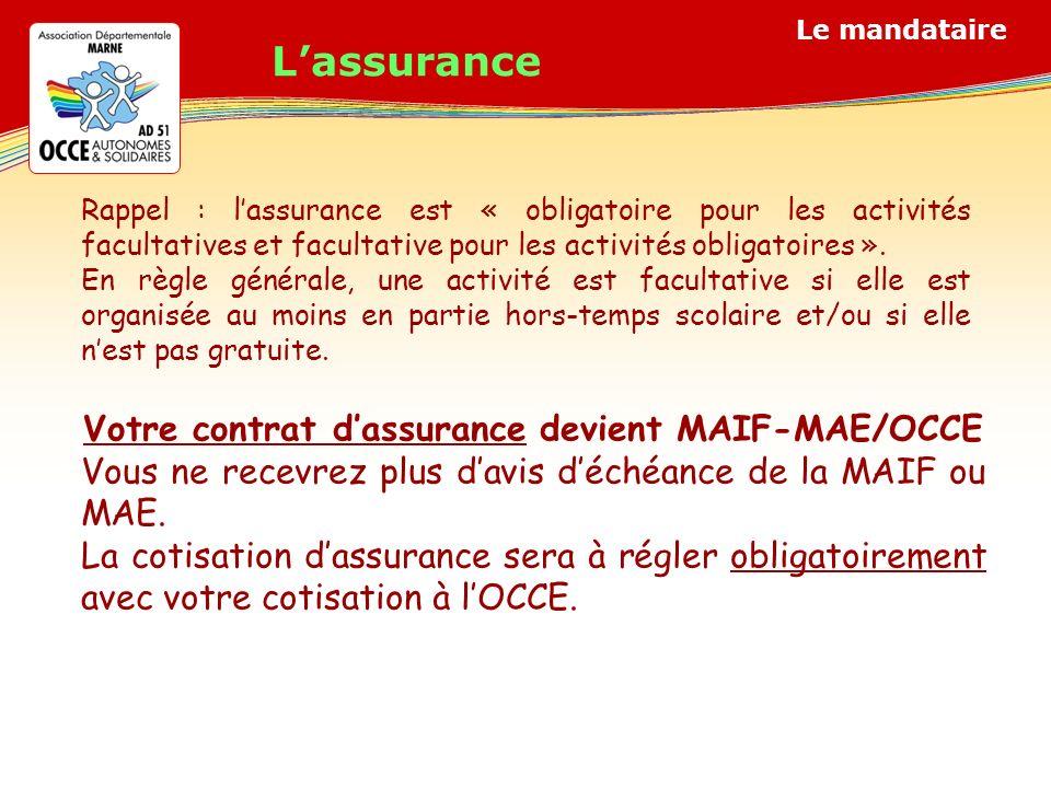 Votre contrat d'assurance devient MAIF-MAE/OCCE