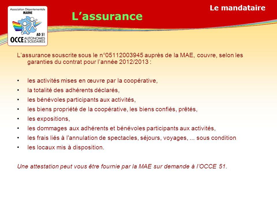 L'assurance L'assurance souscrite sous le n°05112003945 auprès de la MAE, couvre, selon les garanties du contrat pour l'année 2012/2013 :