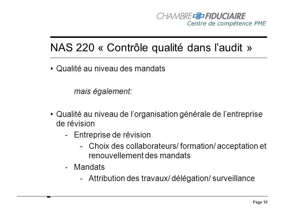 NAS 220 « Contrôle qualité dans l'audit »