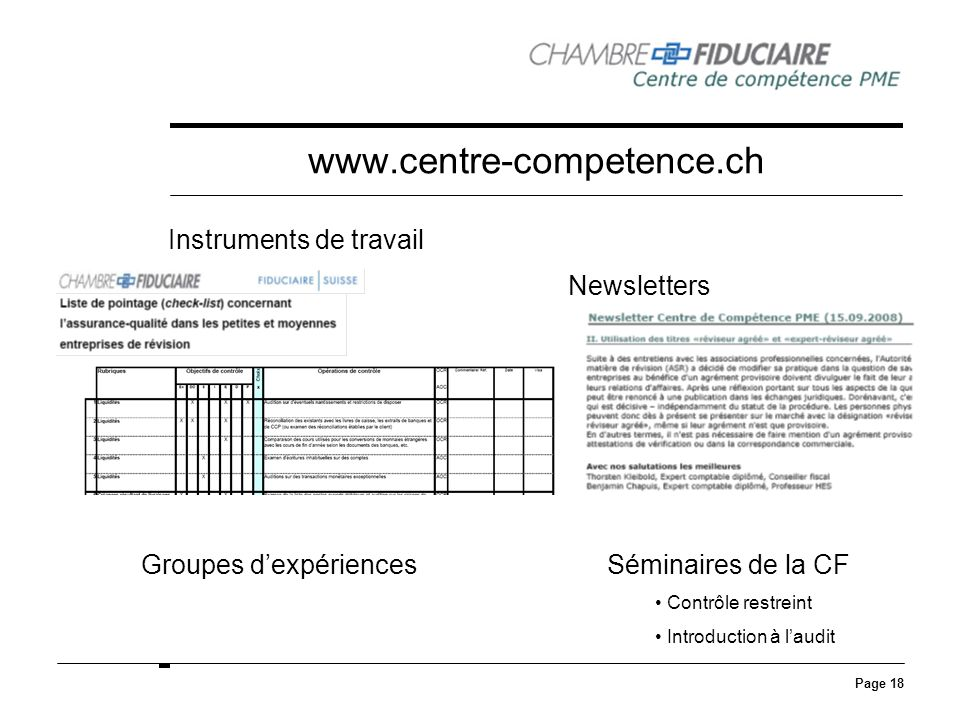 www.centre-competence.ch Instruments de travail Newsletters