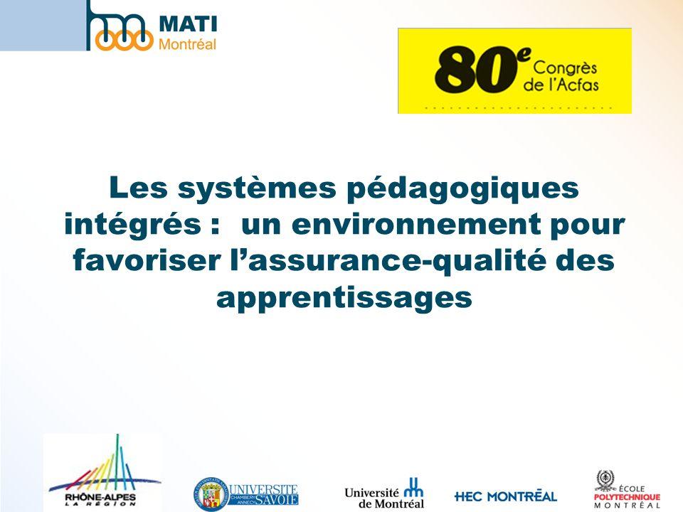 Les systèmes pédagogiques intégrés : un environnement pour favoriser l'assurance-qualité des apprentissages