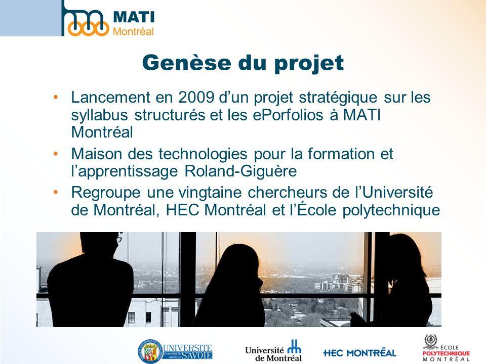 Genèse du projet Lancement en 2009 d'un projet stratégique sur les syllabus structurés et les ePorfolios à MATI Montréal.