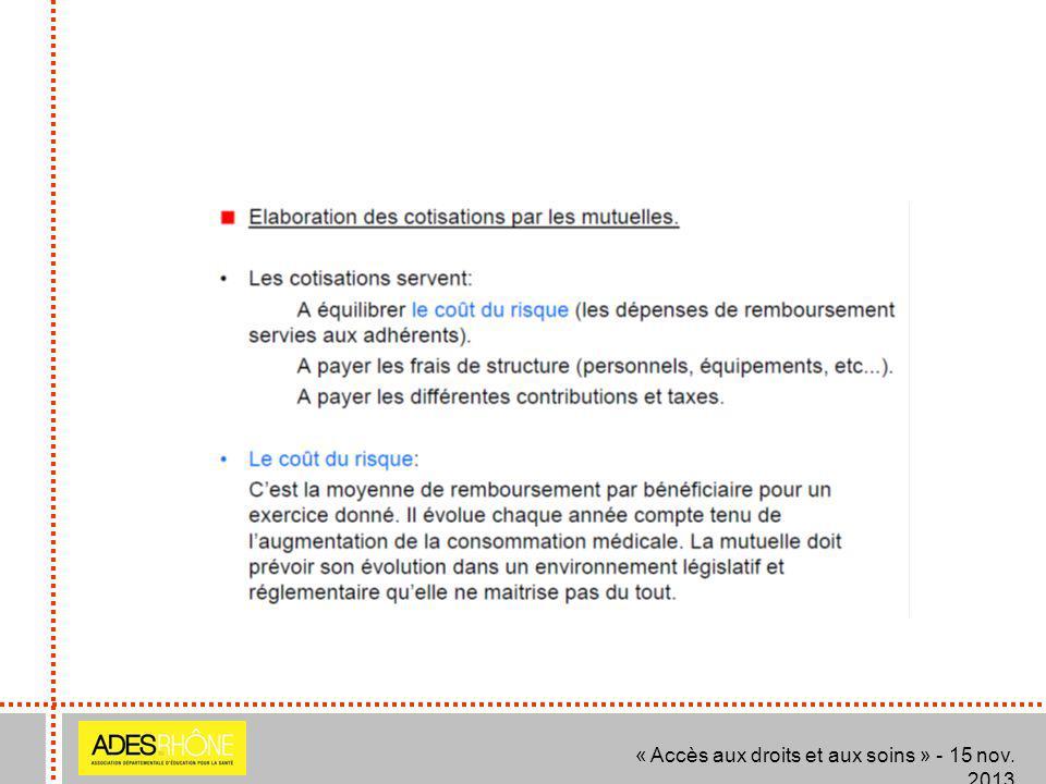 « Accès aux droits et aux soins » - 15 nov. 2013